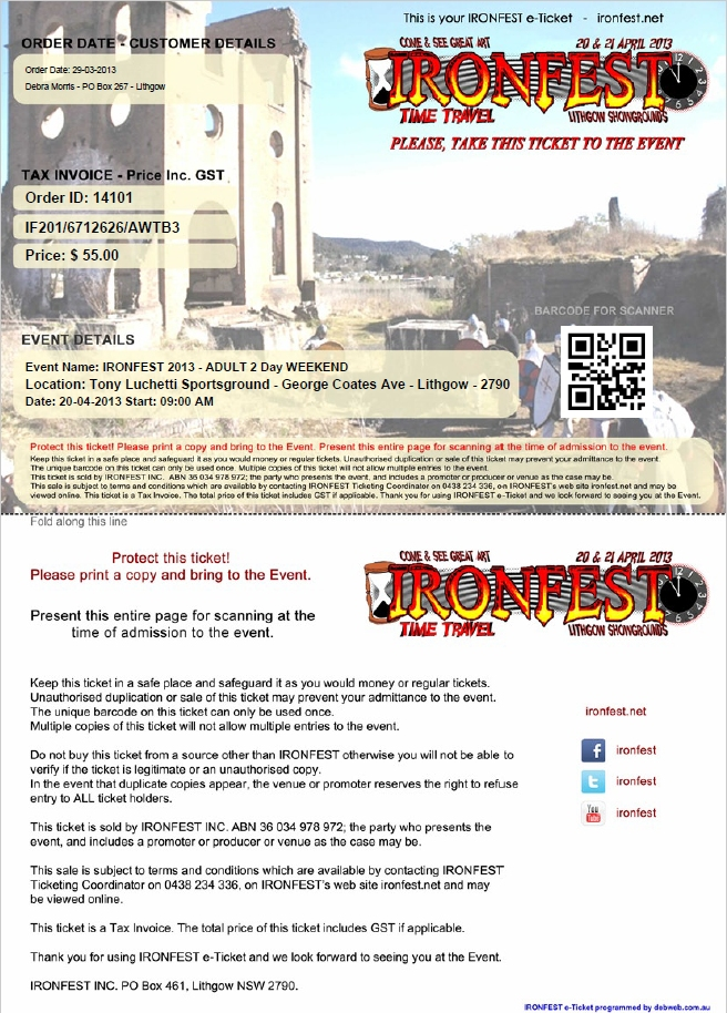 Example e-Ticket Ironfest 2013